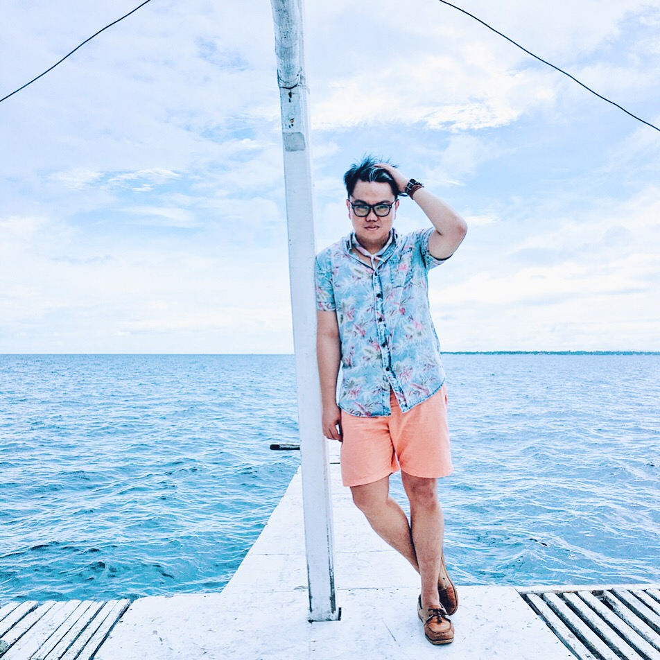 Faux Denim Print Polo and Wrap Around Anchor Bracelet - Zalora | Rose Quartz and Serenity scarf - The SM Store | Watch - Lloyd | Shorts - Straightforward.ph | Boat Shoes - Debonair Shoe